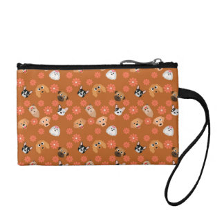Dogs and Flowers Rust Change Purse