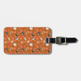 Dogs and Flowers Rust Luggage Tags