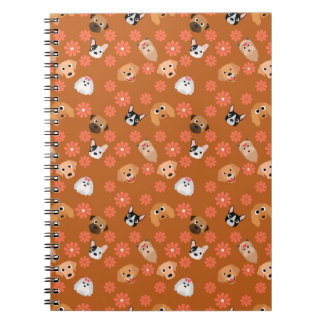 Dogs and Flowers Rust Spiral Notebooks