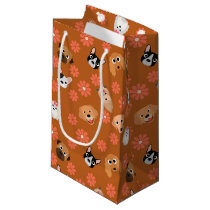 Dogs and Flowers Rust Small Gift Bag