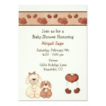 """Dogs and Hearts Baby Shower Invitation for Girls 5"""" X 7"""" Invitation Card"""