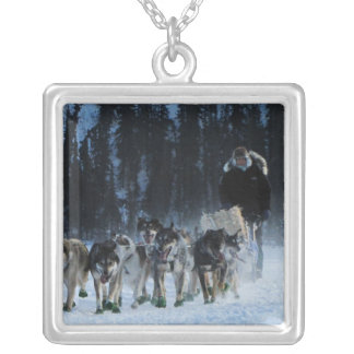 Dogs and Musher Square Pendant Necklace