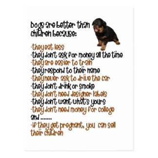 Dogs Are Better Than Children Because Postcards