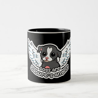 Dogs are nature's angel Staffordshire with wings Two-Tone Coffee Mug