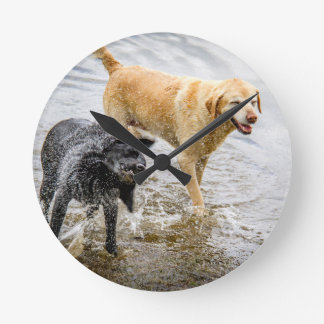Dogs at the Beach Round Wallclock