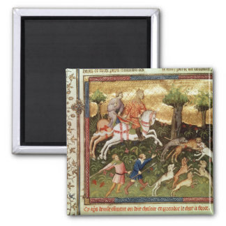 Dogs attacking a leopard, from a book 2 inch square magnet