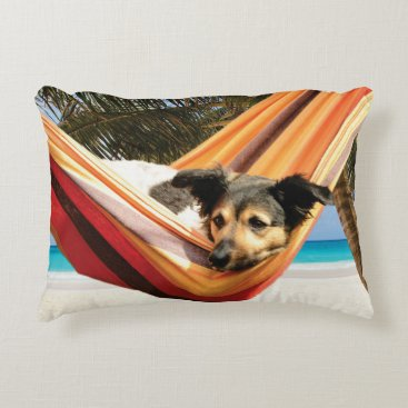 Beach Themed Dog's Beach Time Accent Pillow