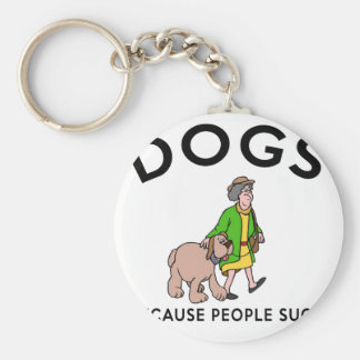 dogs because people suck keychain
