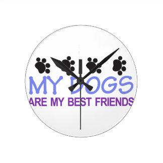 Dogs Best Friends Round Clock