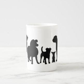 Dogs breed group black silhouette bone china mug