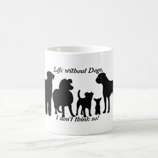 Dogs breed group black silhouette, coffee tea mug