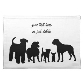Dogs breed group black silhouette custom placemat