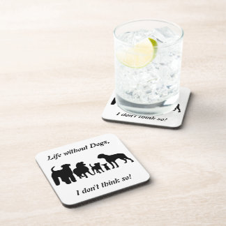 Dogs breed group black silhouette fun coaster