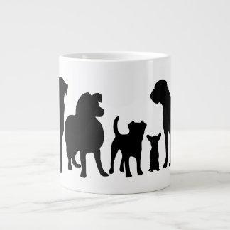 Dogs breed group black silhouette jumbo mug