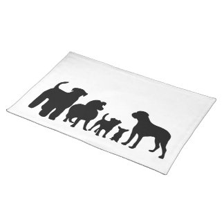 Dogs breed group black silhouette placemat