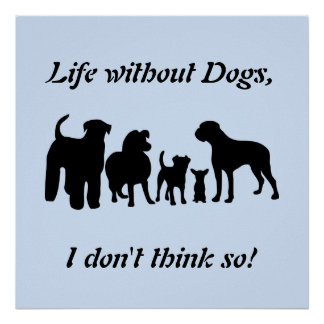 Dogs breed group black silhouette, poster, print