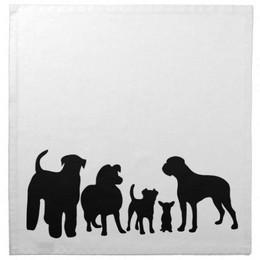 Dogs breed group black silhouette table napkin