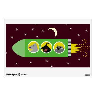 Dogs & Cat in Rocket Ship Wall Sticker