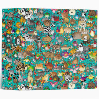 """Dogs, Cats & Birds"" Teal Binder"