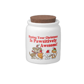 Dogs & Cats Pawsitively Awesome Christmas Candy Jars