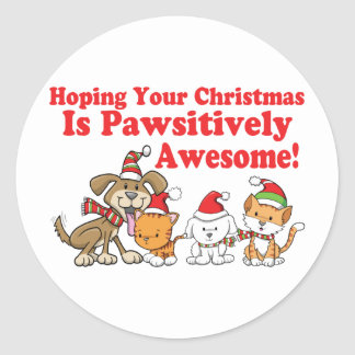 Dogs & Cats Pawsitively Awesome Christmas Classic Round Sticker