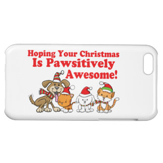 Dogs & Cats Pawsitively Awesome Christmas iPhone 5C Cases