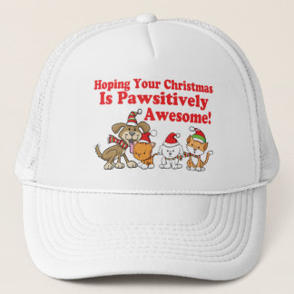 Dogs & Cats Pawsitively Awesome Christmas Trucker Hat