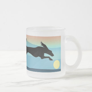 Dogs Chasing Ball Frosted Glass Coffee Mug