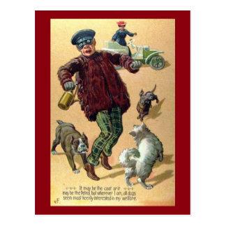 Dogs Chasing Motorist Vintage Postcard