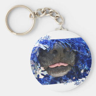 Dog's Christmas Opinion Tongue Out (barely) Key Chains