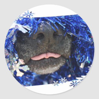 Dog's Christmas Opinion Tongue Out (barely) Classic Round Sticker