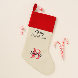 Dog's Christmas Stocking Merry Poochmas & Name -