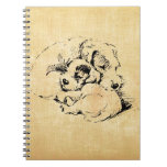 Dogs Cuddly Pets, Beige Orange Texture Look Note Books