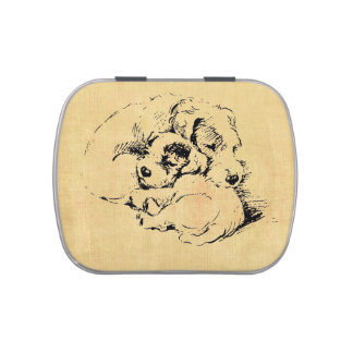 Dogs Cuddly Pets Tin, Beige Orange Texture Look Candy Tin