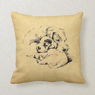 Dogs Cuddly Pillow, Beige Orange Texture Look Throw Pillow
