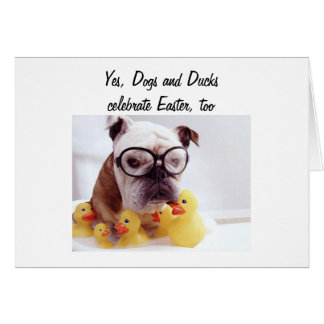 DOGS/DUCK CELEBRATE EASTER CARD