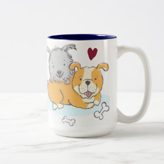 Dogs Enrich Our Lives, Return the Favor Two-Tone Coffee Mug