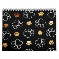 Dogs footsteps patterns calendar