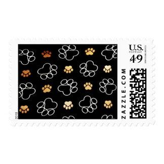 Dogs footsteps patterns postage stamp