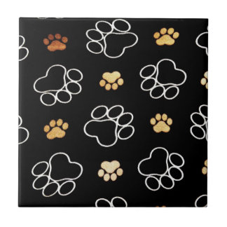 Dogs footsteps patterns tile
