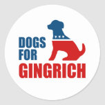 DOGS FOR GINGRICH CLASSIC ROUND STICKER