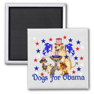 DOGS FOR OBAMA 2 INCH SQUARE MAGNET