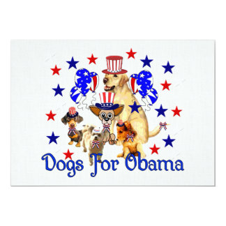 DOGS FOR OBAMA 5X7 PAPER INVITATION CARD