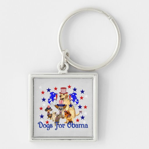 DOGS FOR OBAMA KEYCHAIN
