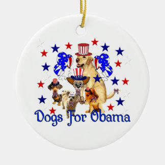 DOGS FOR OBAMA CHRISTMAS ORNAMENT
