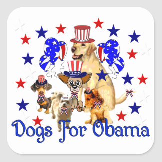 DOGS FOR OBAMA SQUARE STICKERS