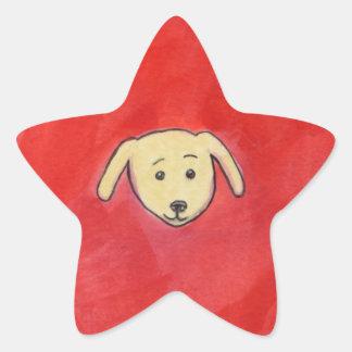 Dogs fun cute love unique gouache painting ART Star Sticker
