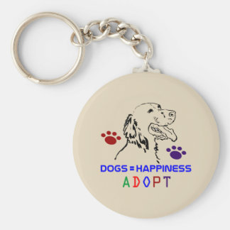 Dogs=Happiness Adopt Keychain
