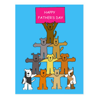 Dogs-Happy Father's Day Postcard