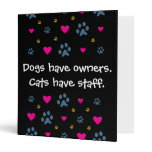 Dogs Have Owners-Cats Have Staff Binder